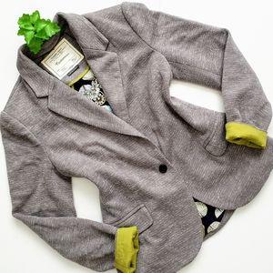 Cartonnier Grey Dashes Knit One Button Blazer M